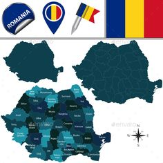 Buy Map of Romania by on GraphicRiver. Vector map of Romania with named counties and travel icons. Package contains: EPS version), JPG pixels. Map Vector, Vector Graphics, Vector Free, Got Map, Brasov Romania, Vector Design, Graphic Design, Travel Icon, Clip Art