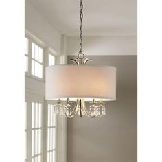 Home Decorators Collection Polished Nickel Chandelier with White Linen Drum Shade and Dangling Glass Beads - The Home Depot Drum Pendant, Pendant Chandelier, Modern Chandelier, Country Chandelier, Ceiling Pendant, Chandeliers, Drum Shade Chandelier, Kitchen Chandelier, Living Room Lighting