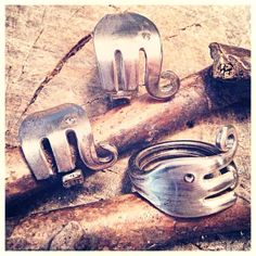 I'm in love, it's so cute....like a spoon....but a FORK! Perfect for an elephant! Elephant Ring by LadyForge by LadyForge on Etsy, $28.00