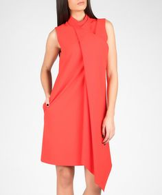 Red waterfall-front asymmetric dress Sale - MARMURI Sale
