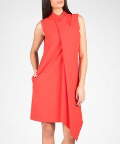 Red waterfall-front asymmetric dress Sale - MARMURI Sale