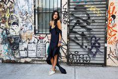 Juan Carlos Obando dress, Golden Goose Deluxe Brand sneakers, Marte Frisnes and Isabel Marant cuffs