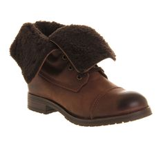 Office Block Buster Brown Leather - Ankle Boots