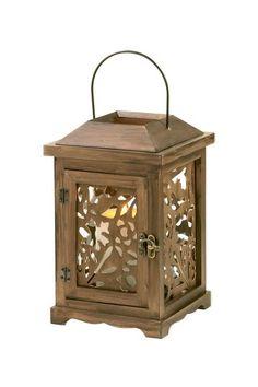 Fall Flora Wooden Lantern