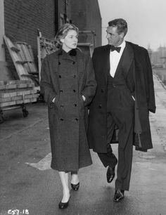 Ingrid Bergman and Cary Grant 50s movie stars iconic vintage fashion style coat suit jacket tie men's women's tux bow shoes hair