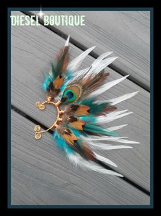 Desert Peacock  Feather Earcuff gypsy boho by dieselboutique