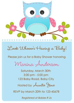 Look Whooo's having a baby invitation. Cute for Tiara's baby shower.
