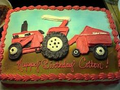 Red tractor birthday cake – and don;t for get the favorite bayler, wagon, or other equipment!