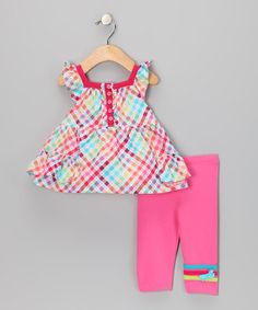 Take a look at this Azalea Pink Tunic & Cropped Legging - Infant & Toddler by Chapô Pointû on #zulily today!