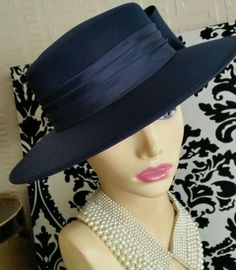 45649681a0a Stunning vintage navy with bow trim wide brimmed wedding   races hat