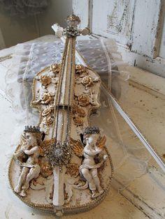 Cherub embellished violin ornate shabby French by AnitaSperoDesign