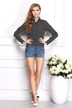 """Trendy Series"" Polka Dots Chiffon Shirt with Long Sleeve and Collar for all occasion Shirt (Black)"