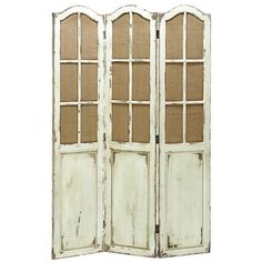 "Lunette Room Divider from Joss and Main. Antiqued white room divider with latticed windows. 71""H x 48""W x 1""D. $212.95"
