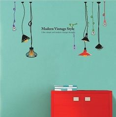 Modern & Vintage Style Lamp Eco-Friendly Removable Wall DECOR Stickers Decals | eBay