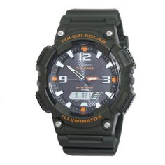 Casio Men's AQS810W-3AVCF Solar Sport Combination Watch Casio. $37.24. 12/24 hr formats, module: 5208. World time (48 cities + utc), multi-lingual day of week display (eng, por, spa, fre, ger, ita). 2 coutdown timers (up to 10 intervals each). 100m water resistant, tough solar power, led light w/afterglow. 5 alarms, 1/100th sec. Stopwatch