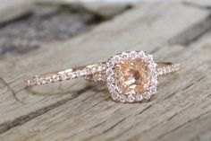 SET - Champagne Peach Sapphire Diamond Halo Ring in 14K Rose Gold