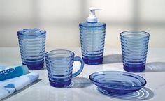 Ocean Blue Transparent Plastic Bathroom Set factory supplier manufacturer wholesaler