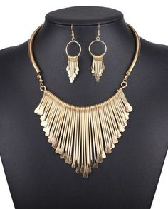 Spiked Cocktail Necklace Set - Gold