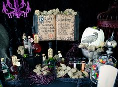 awesome Halloween party on Hostess With The Mostess - I want to go get an old book to make my own potion book. Really cute idea!