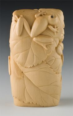 #464 Spring Song Netsuke  Boxwood, Amber, Gold Leaf by Janel Jacobson