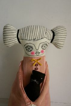 """""""Me and my cat"""" art doll by Caracarmina  THIS LOVELY ITEM HAS BEEN SELECTED TO BE PART OF THE """"LOVE ATTACK DAY"""" PROMOTED BY ETSYITALIATEAM"""