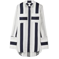 Adam Lippes Striped cotton and silk-blend jacquard blouse (4.760 BRL) ❤ liked on Polyvore featuring tops, blouses, shirts, adam, stripe top, white top, white blouse and graphic tops
