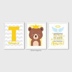 Kit quadro infantil masculino - Nome em chevron. Thiago e oração do anjo e ursinho. Encomende pelo site