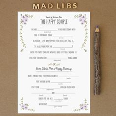 Free Wedding Printables - Get these Free Rustic Mad Libs Printables. These cute Mad Libs would make for a fun activity for guests at any wedding event. Wedding Mad Libs, Wedding Games, Wedding Advice, Free Wedding, Diy Wedding, Rustic Wedding, Wedding Planning, Wedding Day, Wedding Reception Games For Guests