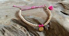 Armbänder - Perlen Armband creme pink mit Münzanhänger gold - ein Designerstück von saniLou bei DaWanda