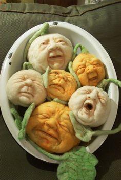 My favorite pumpkins! Handmade by Sharon Hanehan.  Vintage by Crystal on Etsy