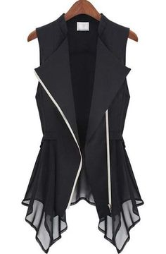 Black Sleeveless Zipper Bandeau Ruffles Outerwear