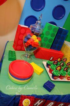 Shanon O's Birthday / Legos - Photo Gallery at Catch My Party Lego Birthday Party, 5th Birthday, Birthday Ideas, Birthday Parties, Lego Party Decorations, Lego Cake, Party Stuff, Holidays And Events, Legos