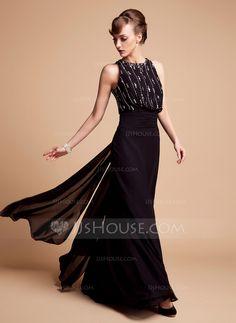 [€ 146.90] Trompete/Meerjungfrau-Linie U-Ausschnitt Bodenlang Chiffon Kleid für die Brautmutter mit Perlen verziert (008006445)