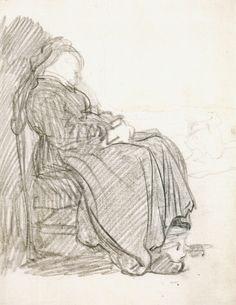 Mulher sentada. Desenho, 1629-30
