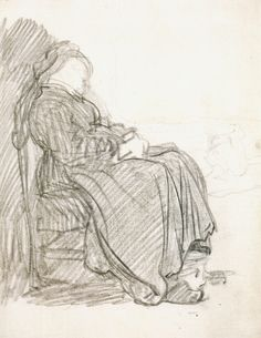 Rembrandt van Rijn/ study of a seated woman/ drawing