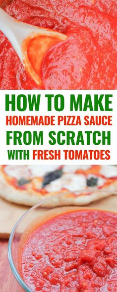 How to make homemade pizza sauce from scratch with fresh tomatoes. This easy hom. How to make homemade pizza sauce from scratch with fresh tomatoes. This easy home made recipe with a hint of garlic and fresh basil will be a huge hit with your family! Fresh Tomato Recipes, Homemade Tomato Sauce, Pizza Sauce Recipe With Fresh Tomatoes, Homemade Pizza Recipe, Best Tomatoes For Sauce, Recipes With Fresh Basil, How To Make Tomato Sauce, Easy Homemade Alfredo Sauce, Healthy Homemade Pizza
