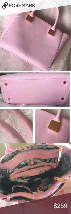 """Ted Baker Leather Handbag Bright baby pink leather, rose gold hardware details. Excellent condition. Worn maybe 4 times. Three compartments inside, with two side pockets and one zipper pocket. One flaw on handle which came like it when it shipped. Leather stuck together and it pealed off😔 See pic. It's small and unnoticeable. Floral lined inside is totally clean. 10"""" wide, 6"""" handle drop, 9.5"""" long. Ted Baker Bags Satchels"""