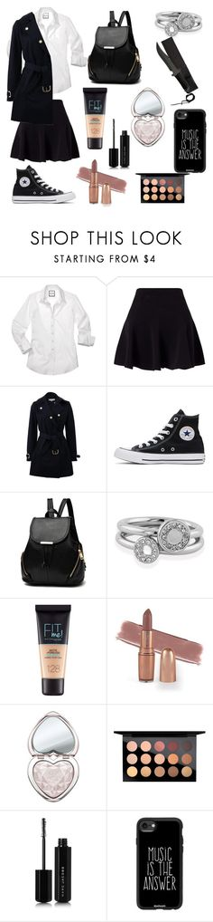 """""""Runaway mafia boss"""" by dragon-huntress ❤ liked on Polyvore featuring Miss Selfridge, STELLA McCARTNEY, Converse, Shoreditch, Maybelline, Too Faced Cosmetics, MAC Cosmetics, Marc Jacobs and Casetify"""