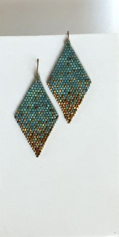 Beaded earrings 339529259409164675 - Seed Bead Earrings, Matte Metal Blue/Green, Gold Dust Diamond Shaped Dangle Earr… – Source by Seed Bead Bracelets, Seed Bead Jewelry, Bead Jewellery, Fine Jewelry, Jewellery Shops, Silver Bracelets, Jewellery Holder, Jewelry Making, Jewelry Case
