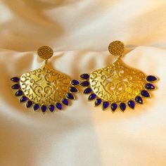 Blue studded Peshwa earring set Indian Traditional Jhumka with blue kundan leaves.