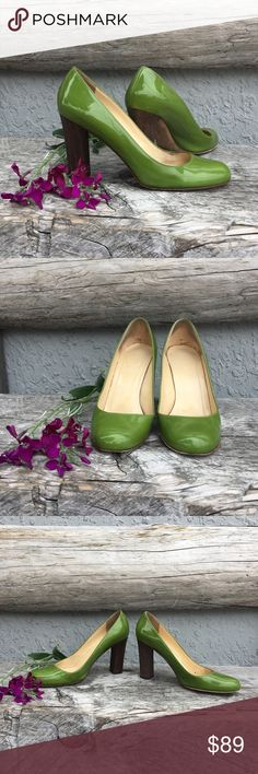 Kate Spade Shiny Green Heels Patent leather pumps with wood veneer block heels. Great combo of material and color, it pops!  Fair used condition, see pix...lotsa life left in these. kate spade Shoes Heels