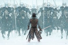 Winter is Here: Epic Jon Snow v White Walkers Fan Art Illustration by AndrewKwan