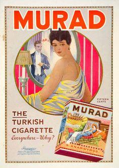 1916 Ad Murad Turkish Cigarettes Woman Man Smoking Tobacco Mirror Glamourous