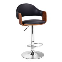 Furnistar Malmberget Black Leatherette Modern Bar Stool with Arm