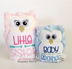 Stuffed Owl - Sibling Set - Little Sister - Baby Brother - Plush Owl - Stuffed Animal - Birth Announcement - New Baby - Owl - Kawaii by TheHuggableHoots on Etsy New Sibling Gifts, Owl Pet, Baby Owls, Little Sisters, Siblings, Drink Sleeves, New Baby Products, Stuffed Owl, Brother