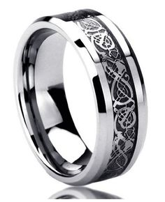 This is a wonderful pure titanium Celtic wedding band with a black dragon inlay finish. This ring is a work of art and will last a lifetime. We also offer this ring in tungsten. Shipping Time : 5 to 1