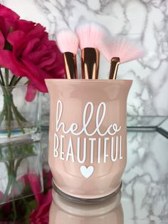 Makeup Brush Holder Makeup Artist Gift Makeup Vanity Girly Decoration Gift for her Makeup lover Makeup Vanity decor Hello Beautiful Makeup Vanity Decor, Diy Vanity, Makeup Rooms, Vanity Ideas, Makeup Vanities, Vanity Set, Henna Designs, Makeup Brush Holders, Diy Makeup Brush Jar