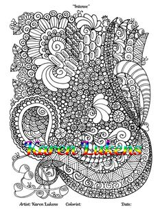 intense 1 adult coloring book page printable instant download