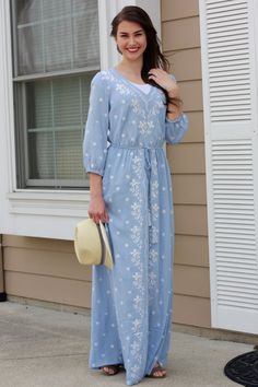 Shay Powder Blue Embroidered Maxi Dress www.piperstreetshop.com