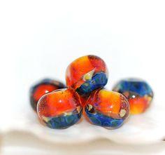 Lampwork BORO glass beads (6), borosilicate glass beads, handmade borosilicate lampwork glass beads, purple, blue, yellow. borosilicate SRA by Juliyamrboro on Etsy